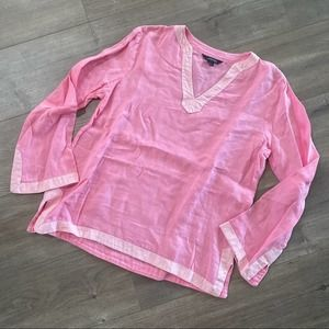 Land's End Pink Linen Costal Tunic Blouse